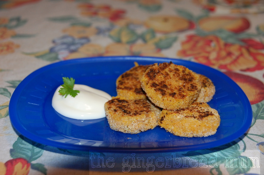 butternut squash and chickpea cakes with dipping yogurt