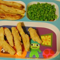 Fish fingers with wedges and mushy peas