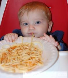 Nicholas eating spaghetti
