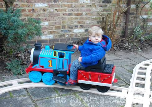 Second birthday ride-on Thomas train